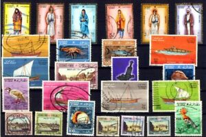 OMAN 25 Different Used Stamps, Small & Large, Thematic - Costumes, Birds, Etc.