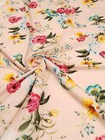 2 Metres amazing soft pink floral floral scuba crepe fabric