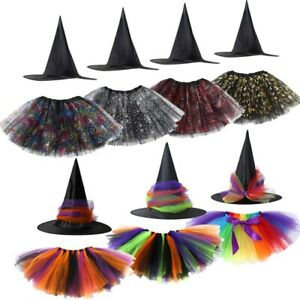 Girl Kids Halloween Witch Costume Tutu Skirt Fancy Dress Up Cosplay Party Outfit