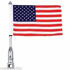 AMERICAN USA MOTORCYCLE BIKER FLAG POLE ADJUSTABLE CHROME LUGGAGE CARRIER MOUNT
