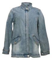 LOGO by Lori Goldstein Women's Sz 2 Zip Front Denim Jacket Cloud Wash A391042