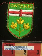 Vtg ONTARIO CANADA PATCH MAPLE LEAF Flag Theme / COAT OF ARMS EMBLEM  C631