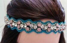 Turquoise Silver Pink Clear crystals Beaded  Headband Hair Accessories N18-4//22