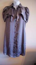 BCBGeneration  shirt dress mocha with puff sleeves artsy design size 4  nwot