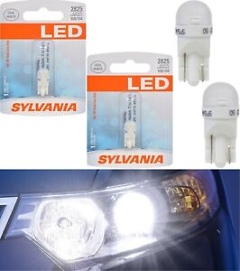 Sylvania LED Light 2825 T10 White 6000K Two Bulbs Front Side Marker Stock Lamp