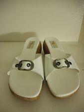"White slip on Womens Madison & max Size 9 M Leather upper Slides 2"" cork heel"