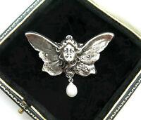 BEAUTIFUL ART NOUVEAU SILVER LADY FAIRY ANGEL FRESHWATER PEARL BROOCH