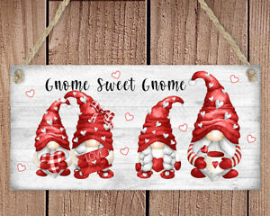 wooden Hanging sign Gnome Sweet Gnome Valentine's day Love Hearts