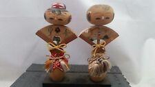 Vintage KYOTO SOUVENIR COUPLE Japanese Wooden Wood PAIR Kokeshi Dolls 1950s