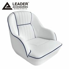 Leader Accessories Deluxe Bucket Boat Seat White/Navy Blue piping