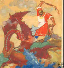 Russian.Fairy Tale Hero Battles Fire Breathing Dragon,Art Deco Vintage Postcard
