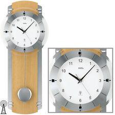 AMS Radio-piloté Horloge murale à pendule montre Hêtre verre minéral NEUF