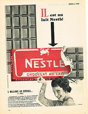 PUBLICITE ADVERTISING  1957   NESTLE  chocolat au lait
