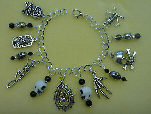 Gothic Pagan Rock Punk Style 7 Charm Silver Plated Bracelet - A Great Gift!!!