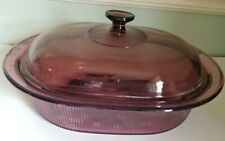 New ListingVision Corning Ware Cookware Cranberry 4 Qt Liter Oval Roaster W/ Lid V-34 B