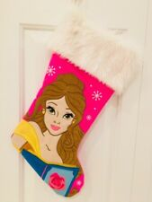 19In Disney Princess Belle Faux Fur Pink White Christmas Stocking
