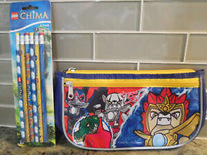 Lego Chima Back to School Supplies Zip Up Pencil Case and 6 Pencils New with Tag