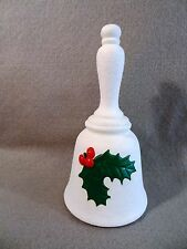 UnMarked WHITE Christmas HOLIDAY Porcelain HOLLY Berry BELL