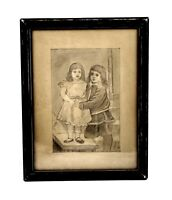 Antique 19th Century Pencil Drawing of Children Little Girls Signed 1882