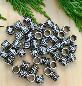 Circle pattern Style Silver Beads European Large hole Spacers 8X8X5.5 *25 beads