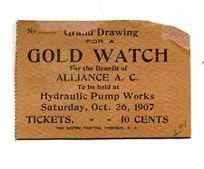 Vintage RAFFLE TICKET 1907 Alliance AC Harrison NJ GOLD WATCH HydraulicPumpWorks