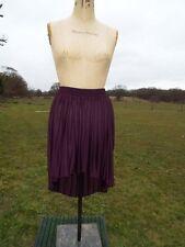 Fab TOPSHOP Aubergine Pleated Pull On Dip Hem Mullet Skirt Size 12 BNWT RRP £28