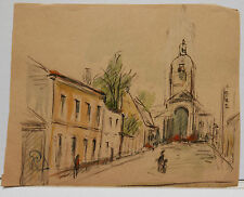 "Dessin Original Aquarelle  PAUL COUVREUR "" Rue de L'Eglise ""  1930 - PC110"