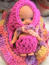 DOLL CRADLE PURSE removable brown doll WITH clothes-FUCHSIA hand crochet