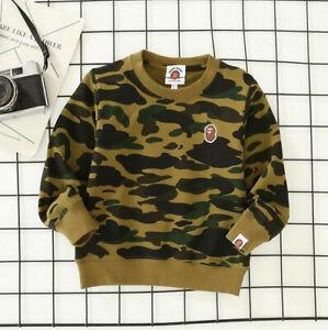 2022 New Kids Boy Girls Camo Animal Pullover Sweatershirt Hoodies Jacket