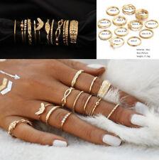 12 Pcs/set Gold Finger Ring Set Vintage Crystal Punk Boho Knuckle Rings Jewelry