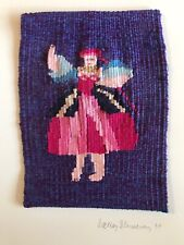 VTG HANDWOVEN Girl Woman TAPESTRY WALL ART TEXTILE FOLK Art By Walter Blumenau