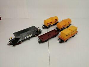 Jouef Ho Lot 5 wagons citerne, porte conteneur Bailly, trémie