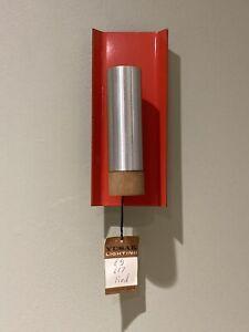 Vintage Modernist Red Wall Light Metal Steel Wood Skandesco West.Germany