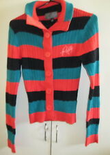 Ladies Rusty Knit Cardigan Size M Long Sleeve Button Front Stripes Cotton Blend
