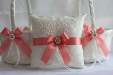 2 Coral Wedding Flower Girl Basket + 1 Wedding Ring Bearer Pillow