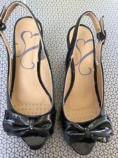 Evans Size 5EEE Black Patent Cork Wedge Heel Peep Toe Slingback Sandals VGC
