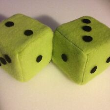 Lime Green And Black Dots Car Dice--3 Inch