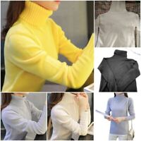 Turtleneck Long Sleeves Women Sweater Solid Slim Knitted Pullovers For Ladies