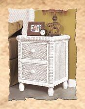 2 Drawer Nightstand Wicker Rattan End Table Santa Cruz Tropic Bedroom Furniture