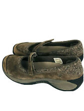 MERRELL Encore Emme Mary Jane Womens Sz 9 Shoes Stone Brown Suede Gray Comfort