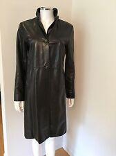 BANANA REPUBLIC Leather Coat Black Jacket Womens size Small Fall Winter Lined