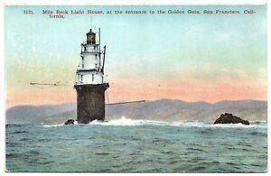 1914 Mile Rock Light House, Golden Gate, San Francisco Bay, California Postcard
