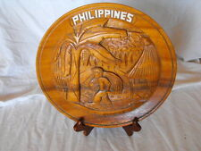 "Vintage Hand Carved Philippines 10"" Plate with Wood Stand"