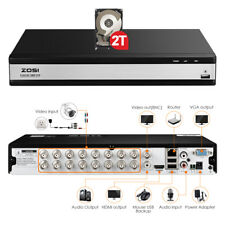 ZOSI 16 Channel 1080p DVR with Hard Drive 2TB for Home Security Camera System
