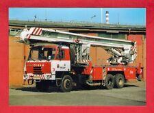 Czech Fire Truck Postcard - Tatra 815 6x6 Bronto Skylift Ladder - Prague - c2005