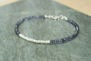 14k gf Ros\u00e9 GF and Sterling silver Beautiful bracelet with blue iolite adjustable