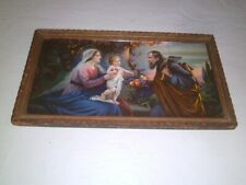 """Antique Print The Holy Family color lithograph carved wooden frame 16"""" x 9"""""""