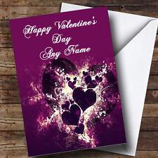 Corazones PÚRPURA y remolinos Romántica Personalizada De San Valentín tarjeta de saludos