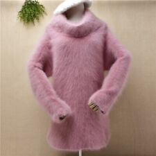 Angora mohair pink dusty pink knit jumper sweater cowl turtle long sleeve dress