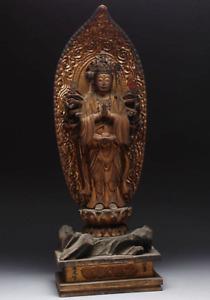 """Japanese Antique Senju Kannon Bosatsu Thousand Armed Kannon Wooden Statue 22"""""""